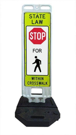 """Step n Lock """"STATE LAW STOP FOR PEDESTRIANS WITHIN CROSSWALK"""" Traffic Panel"""