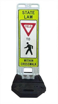 """Step n Lock """"STATE LAW YIELD TO PEDESTRIANS WITHIN CROSSWALK"""" Traffic Panel"""