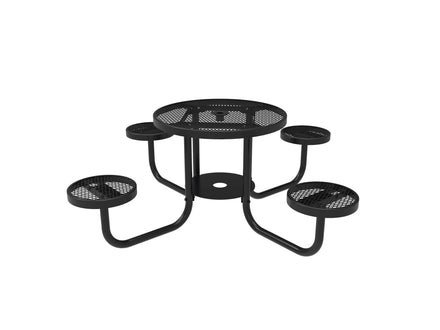 Round Patio Table with Seats - Diamond Pattern / Expanded Steel