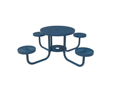 Round Patio Table with Seats - Circular Pattern / Punched Steel