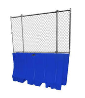 "Blue Water/Sand Fillable Traffic Barrier - 42"" H x 72"" L x 24"" W with fencing"