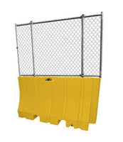 "Yellow Water/Sand Fillable Traffic Barrier - 42"" H x 72"" L x 24"" W with fencing"