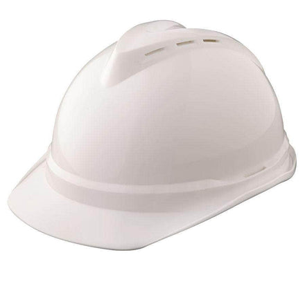MSA V-Gard 500 White Cap Hard Hat, 4 Point Fas-Trac