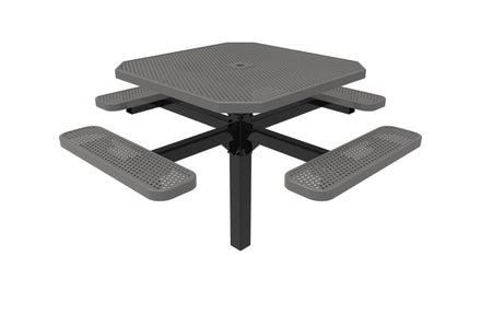 Octagon Pedestal Picnic Table with 4 Seats - Circular Pattern - 46 In.