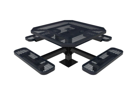 Octagon Pedestal Picnic Table with 4 Seats - Diamond Pattern - 46 In.