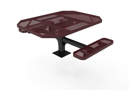 46 in. Octagon Pedestal Picnic Table with 2 ADA Seats - Diamond Pattern