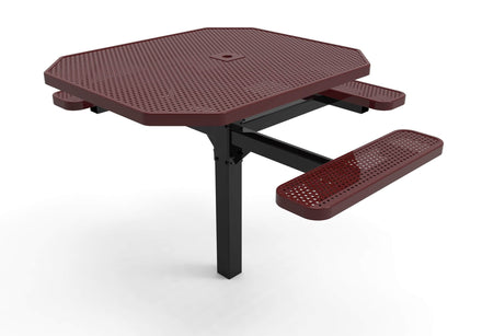 Octagon Pedestal Picnic Table with 3 Seats - Circular Pattern - 46 In.