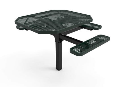 Octagon Pedestal Picnic Table with 3 Seats  - Diamond Pattern - 46 In.