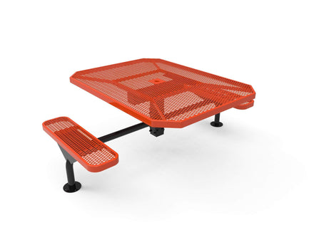 """46"""" Octagon Nexus Pedestal Picnic Table with 2 ADA Seats - Diamond Pattern / Expanded Steel"""