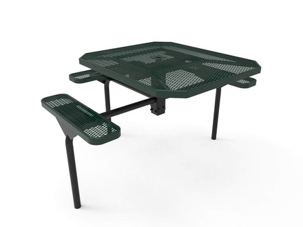 """46"""" Octagon Nexus Pedestal Picnic Table with ADA Accessible Seating - Diamond Pattern / Expanded Steel"""