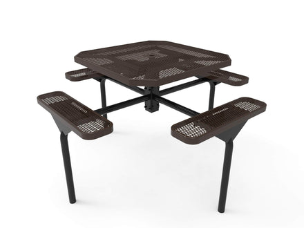 """46"""" Octagon Nexus Pedestal Picnic Table with 4 Seats - Diamond Pattern / Expanded Steel"""