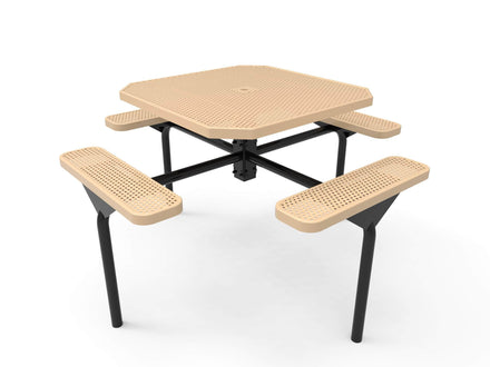 """46"""" Octagon Nexus Pedestal Picnic Table with 4 Seats - Circular Pattern / Punched Steel"""