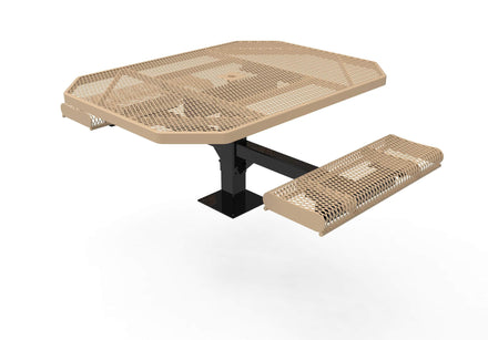 Octagon Rolled Pedestal Picnic Table with 2 ADA Seats - Diamond Pattern - 46 In.