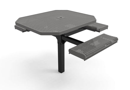 Octagon Rolled Pedestal Picnic Table with ADA Accessible Seating - Circular Pattern - 46 In.