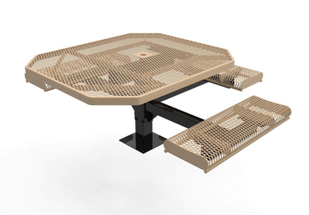 Octagon Rolled Pedestal Picnic Table with ADA Accessible Seating - Diamond Pattern - 46 In.