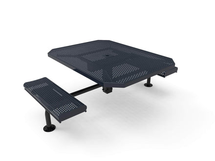 Octagon Rolled Seat Nexus Pedestal Picnic Table with 2 ADA Seats -  Circular Pattern - 46 In.