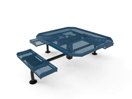 Octagon Rolled Seat Nexus Pedestal Picnic Table with 3 Seats - Diamond Pattern - 46 In.