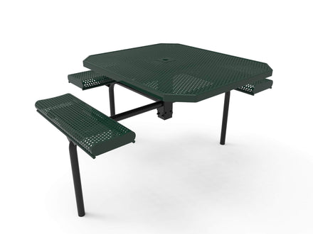 Octagon Rolled Seat Nexus Pedestal Picnic Table with 3 Seats -  Circular Pattern - 46 In.