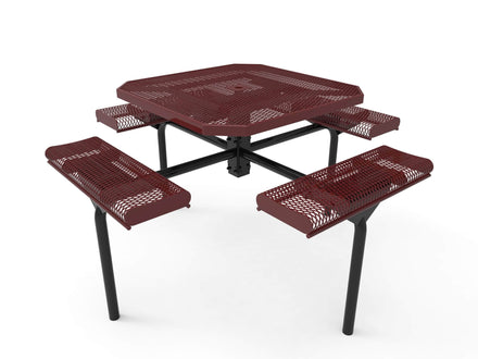 46 in. Octagon Rolled Seat Nexus Pedestal Picnic Table with 4 Seats - Diamond Pattern
