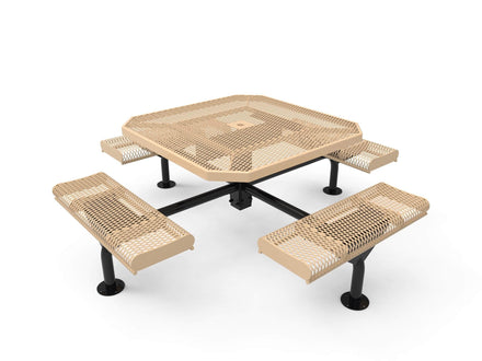 "46"" Octagon Rolled Seat Nexus Pedestal Picnic Table with 4 Seats - Diamond Pattern"