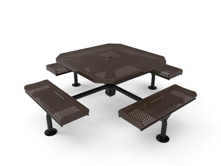 Octagon Rolled Seat Nexus Pedestal Picnic Table with 4 Seats - Circular Pattern - 46 In.