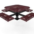 Octagon Rolled Pedestal Picnic Table with 4 Seats - Diamond Pattern - 46 In.
