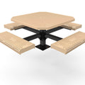 Octagon Rolled Pedestal Picnic Table with 4 Seats - Circular Pattern - 46 In.