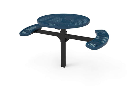 """46"""" Round Pedestal Picnic Table with 2 ADA Seats - Diamond Pattern/Expanded Metal"""