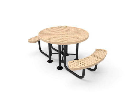 Round Portable Table - Circular Pattern / Punched Steel