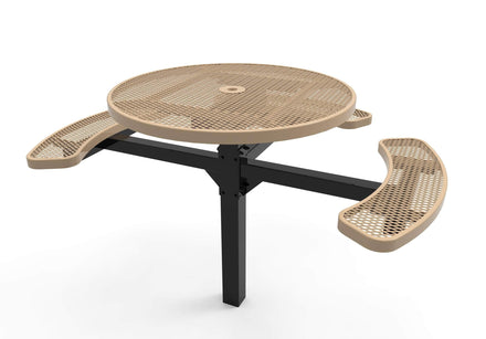 Round Pedestal Picnic Table with 3 Seats - Diamond Pattern - 46 In.