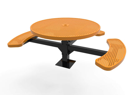 Round Pedestal Picnic Table with 3 Seats - Circular Pattern - 46 In.