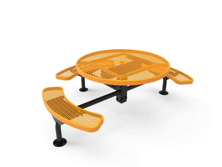 Round Nexus Pedestal Picnic Table with 3 Seats - Diamond Pattern - 46 In.
