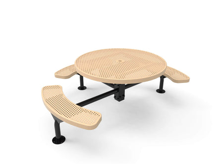 Round Nexus Pedestal Picnic Table with 3 Seats - Circular Pattern - 46 In.