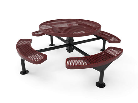 Round Nexus Pedestal Picnic Table with 4 Seats - Diamond Pattern - 46 In.