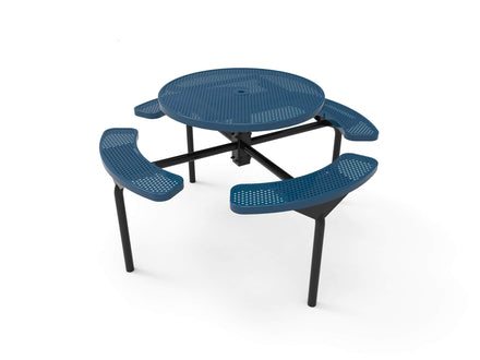 Round Nexus Pedestal Picnic Table with 4 Seats - Circular Pattern - 46 In.