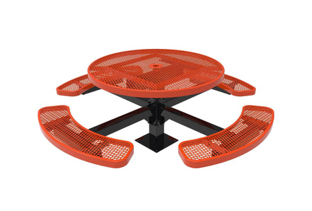 """46"""" Round Pedestal Picnic Table with 4 Seats - Diamond Pattern/Expanded Metal"""
