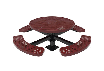 """46"""" Round Pedestal Picnic Table with 4 Seats - Circular Pattern/Punched Steel"""