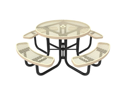 Round Portable Table - Diamond Pattern / Expanded Steel