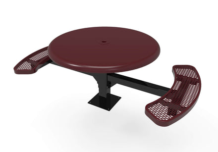 Round Solid Top Pedestal Picnic Table with 2 ADA Seats - Diamond Pattern - 46 In.