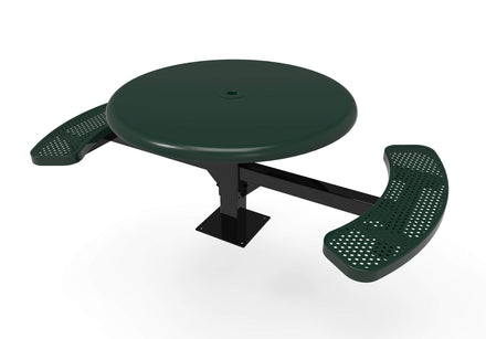 Round Solid Top Pedestal Picnic Table with 2 ADA Seats - Circular Pattern - 46 In.