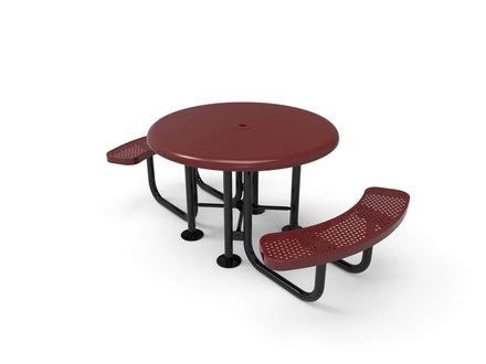 Round Smooth Top Portable Table - Circular Pattern / Punched Steel