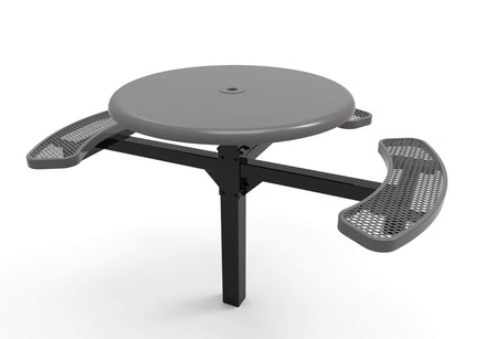 Round Solid Top Pedestal Picnic Table with ADA Accessible Seating – Diamond Pattern - 46 In.
