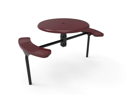 Round Solid Top Nexus Pedestal Picnic Table with 2 ADA Seats - Circular Pattern - 46 In.