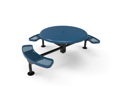 Round Solid Top Nexus Pedestal Picnic Table with 3 Seats - Diamond Pattern - 46 In.