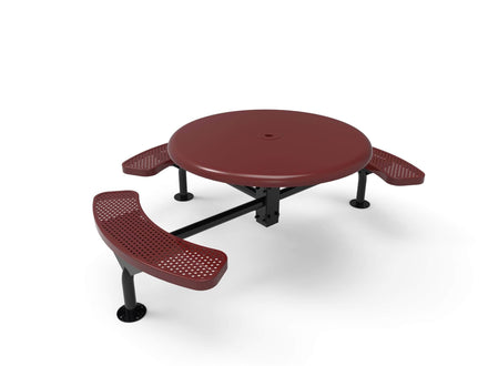 Round Solid Top Nexus Pedestal Picnic Table with 3 Seats - Circular Pattern - 46 In.
