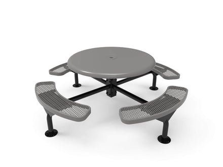 Round Solid Top Nexus Pedestal Picnic Table with 4 Seats - Diamond Pattern - 46 In.