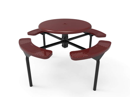 Round Solid Top Nexus Pedestal Picnic Table with 4 Seats - Circular Pattern - 46 In.