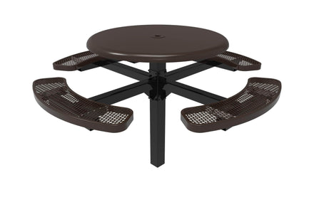 Round Solid Top Pedestal Picnic Table with 4 Seats - Diamond Pattern - 46 In.