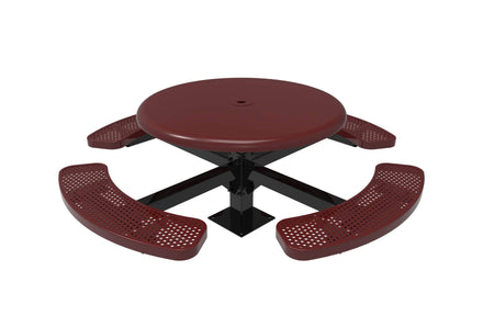 Round Solid Top Pedestal Picnic Table with 4 Seats - Circular Pattern - 46 In.