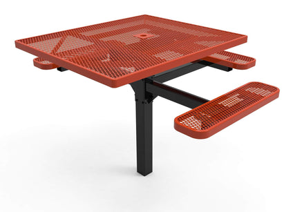 Square Pedestal Picnic Table with 3 Seats - Diamond Pattern - 46 In.